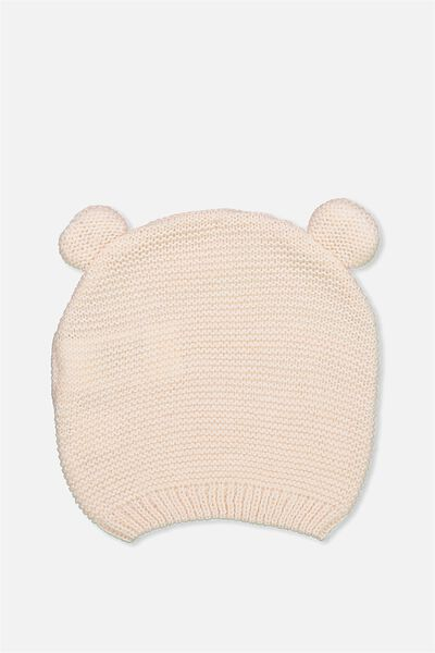 Baby Knit Beanie, PALE PINK RIBBED