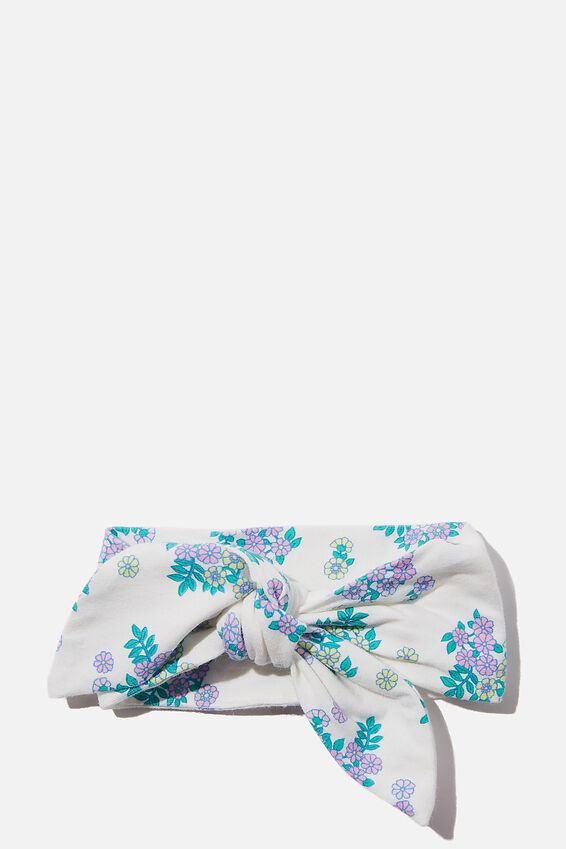 The Tie Headband, VANILLA/BLUE BIRD MINI RETRO FLORAL
