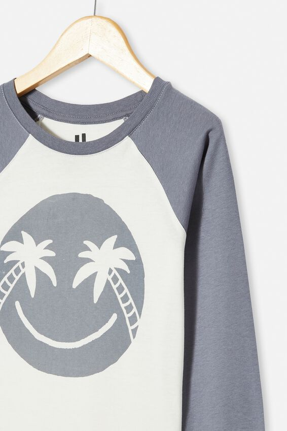 Tom Long Sleeve Raglan Tee, RETRO WHITE/STEEL SMILE FACE