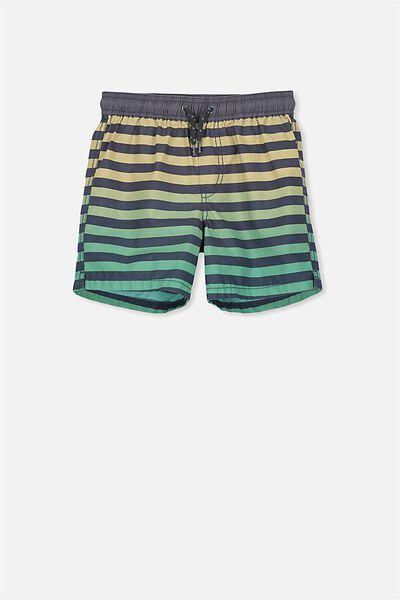 Murphy Swim Short, GRAPHITE/NECTARINE STRIPE ECO GREEN DIP DYE