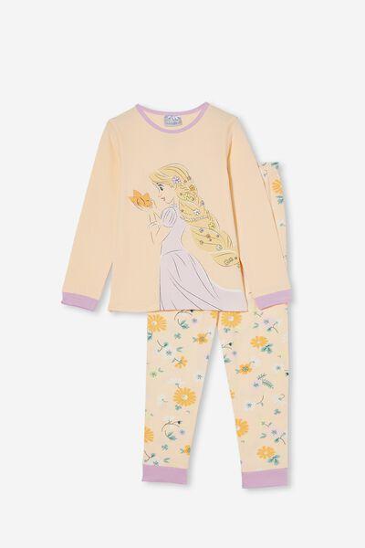 Florence Long Sleeve Pyjama Set Licensed, LCN DIS TANGLED FLORAL PEACH TANG