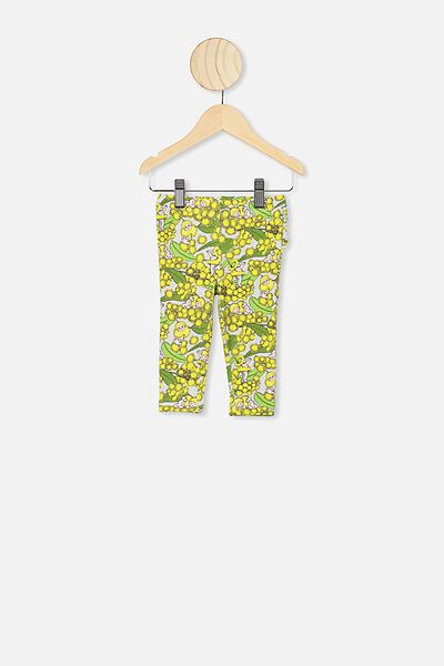 Quinn Ruffle Legging, LCN MAY SOFT GREY MARLE/WATTLE BABIES