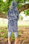 Boys Hooded Long Sleeve Gown Personalised, STEEL