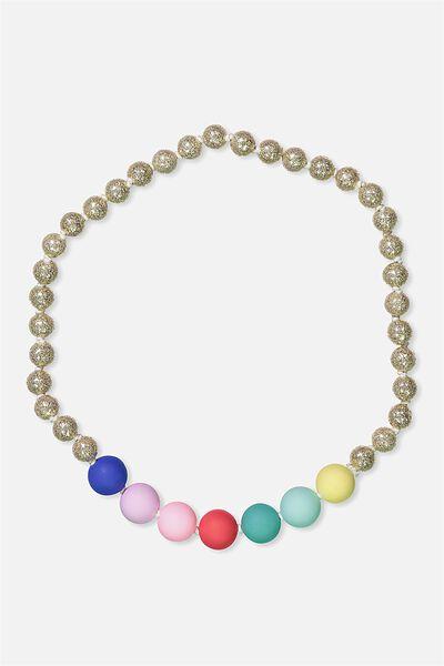 Mixed Beaded Necklace, RAINBOW/GLITTER