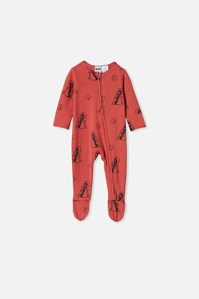 The Long Sleeve Zip Romper, RED BRICK/PENGUIN ASTRONAUT
