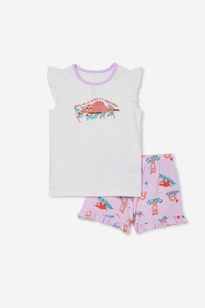 Stacey Short Sleeve Flutter Pyjama Set, XMAS SLOTH/VANILLA PALE VIOLET