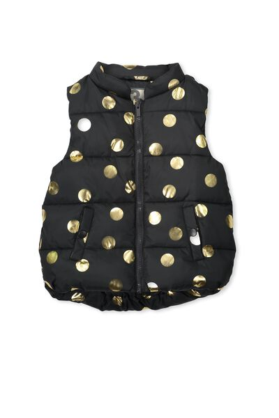 Matilda Puffer Vest, PHANTOM/GOLD SPOT