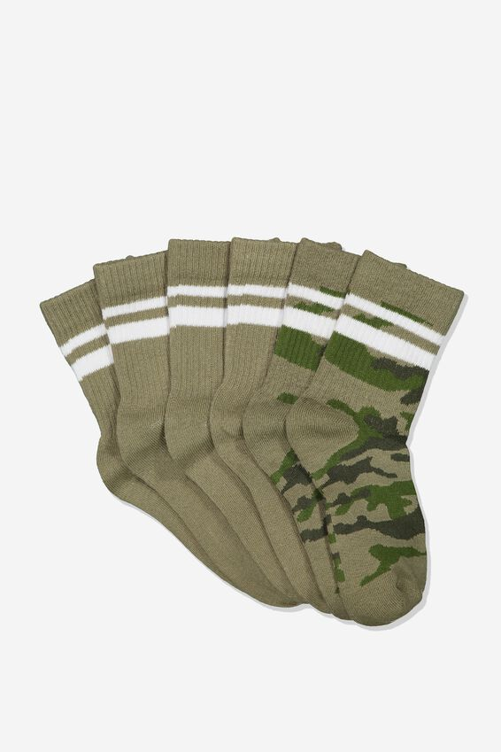 Kids 3 Pk Fashion Crew Socks, GREEN CAMO