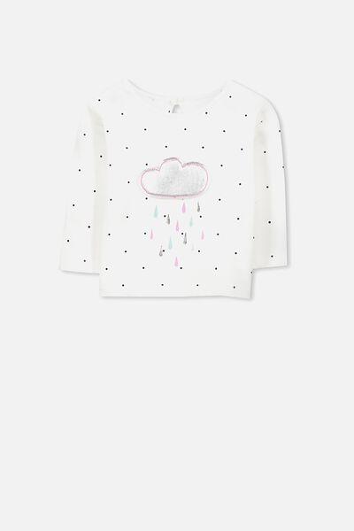 Bonnie Long Sleeve Tee, VANILLA/RAIN CLOUD