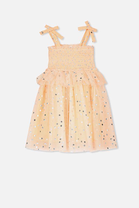 Iris Tulle Dress, PEACH TANG/SILVER SPOT