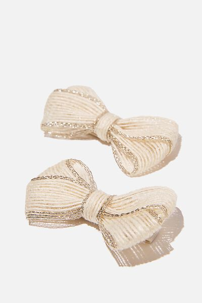 Big Bow Clips - Linen Look, VANILLA GOLDY