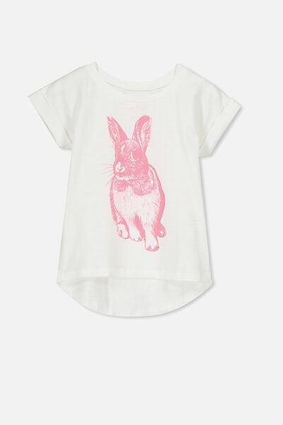 Penelope Short Sleeve Roll Up Tee, VANILLA/STRAWBERRY POP BUNNY