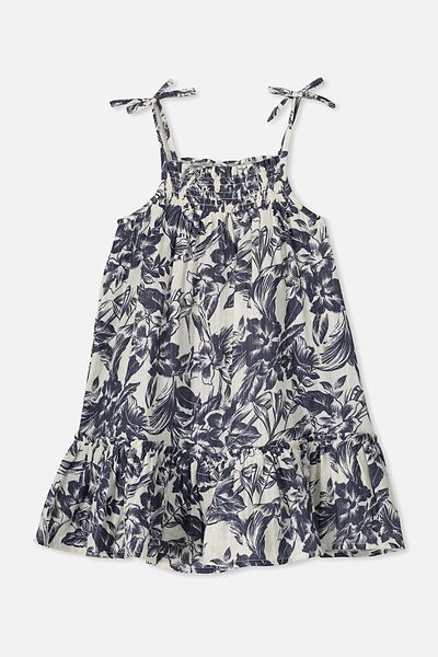 Lila Sleeveless Dress, DARK VANILLA/TROPICAL FLORAL