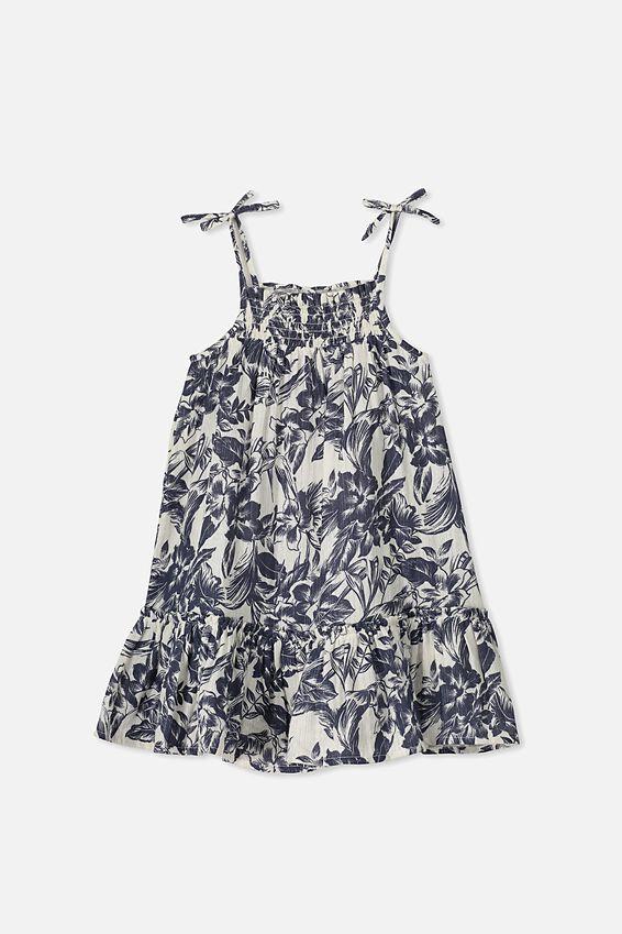Lila Sleeveless Dress, DARK VANILLA/TROPICAL FLORAL