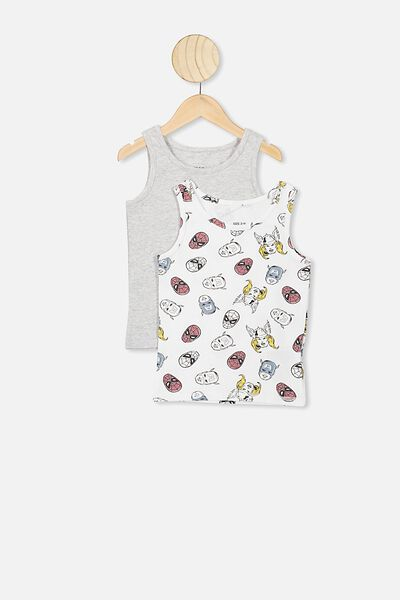 Boys 2 Pk Singlet, LCN MAR WHITE/GREY MARLE AVENGER TEAM