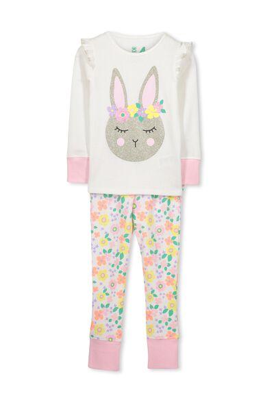 Shae Girls Long Sleeve Waffle Pyjama Set, FLORAL BUNNY
