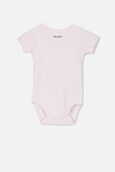 Newborn Short Sleeve Bubbysuit, BABY PINK STRIPE
