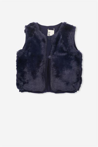Wila Faux Fur Knit Vest, PEACOAT