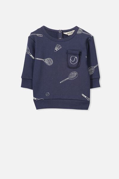 Louis Fleece Jumper, FADED NAVY/TENNIS