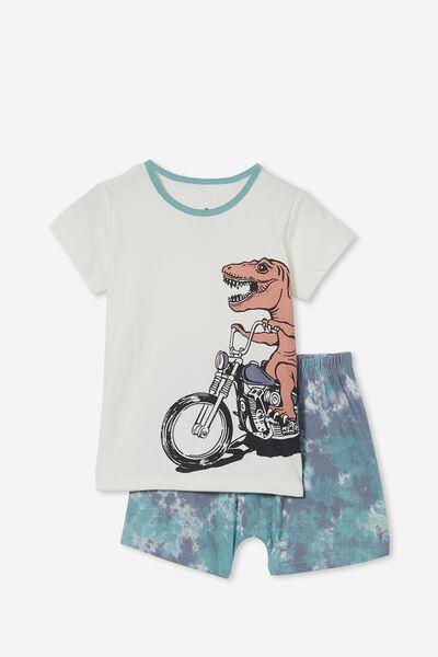 Hudson Short Sleeve Pyjama Set, MOTO DINO TIE DYE/STEEL