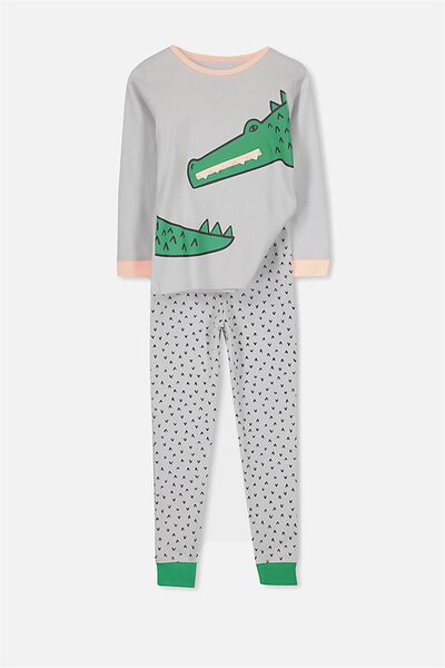 Harry Long Sleeve Boys PJ Set, SNAP SNAP CROCODILE