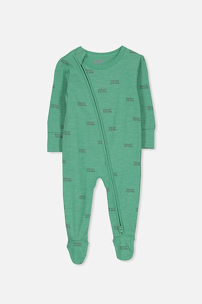 Mini Zip Through Romper, WASHED GREEN/COOLEST KID EVER