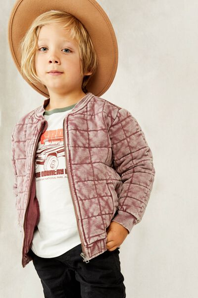 Quilted Bomber Jacket, VINTAGE BERRY