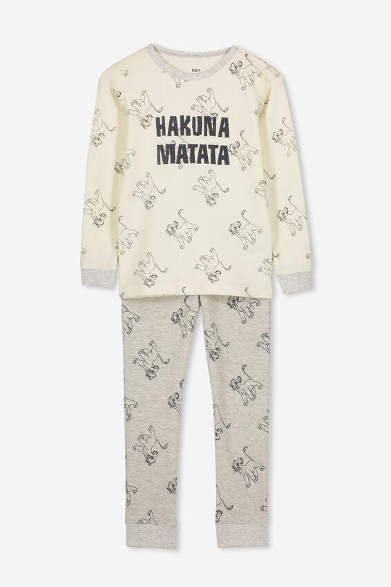 Morgan 2 Long Sleeve Waffle Pyjama Set, LCN DIS LION KING/HAKUNA MATATA