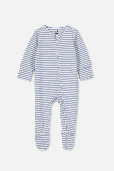 The Long Sleeve Zip Romper, CHRIS STRIPE DUSTY BLUE/WHITE