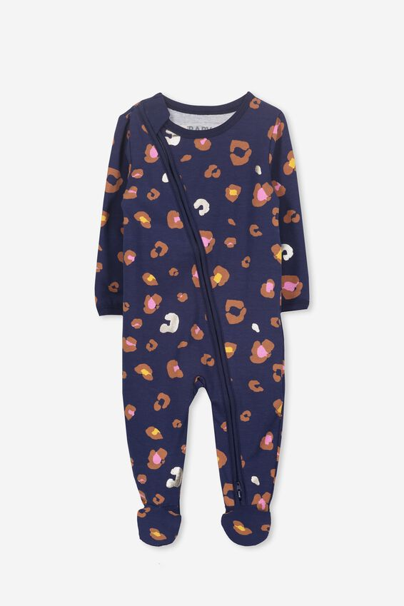 Sleep Mini Zip All In One Jumpsuit, PEACOAT/ANIMAL PRINT