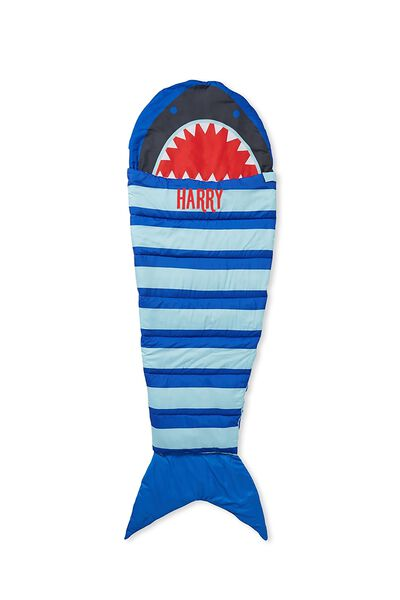Kids Novelty Sleeping Bag, BLUE SHARK PERSONALISED