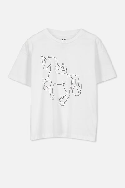 Penelope Ss Loose Fit Tee, WHITE/UNICORN