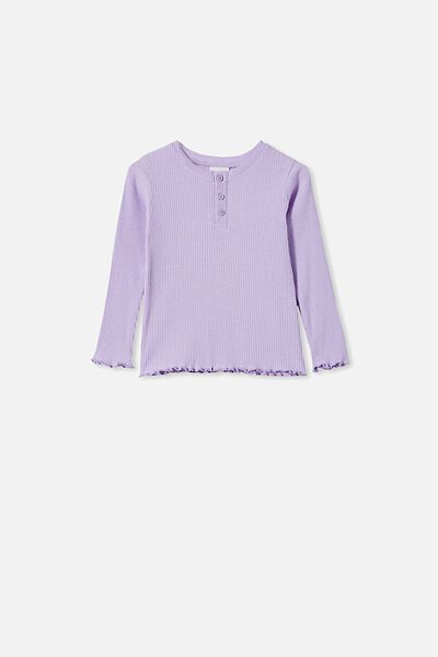 Lucy Long Sleeve Henley, VINTAGE LILAC MARLE
