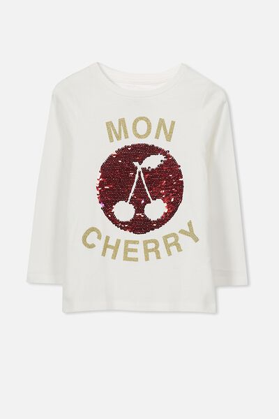 Anna Long Sleeve Split Hem, VANILLA/MON CHERRY