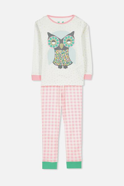 Alicia Long Sleeve Girls Pj Set, GLITTER OWL
