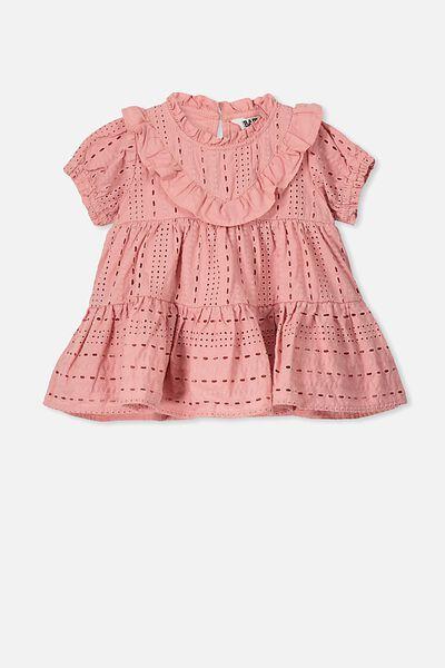 Layla Flutter Sleeve Dress, SWEET BLUSH