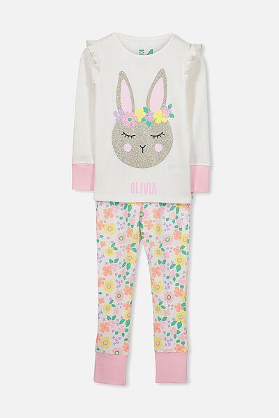 Personalised Shae Girls Long Sleeve Waffle Pyjama Set, FLORAL BUNNY PERSONALISED