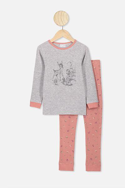 Shae Girls Long Sleeve Waffle Pyjama Set, LCN DIS GREY MARLE/HANDRAWN BAMBI