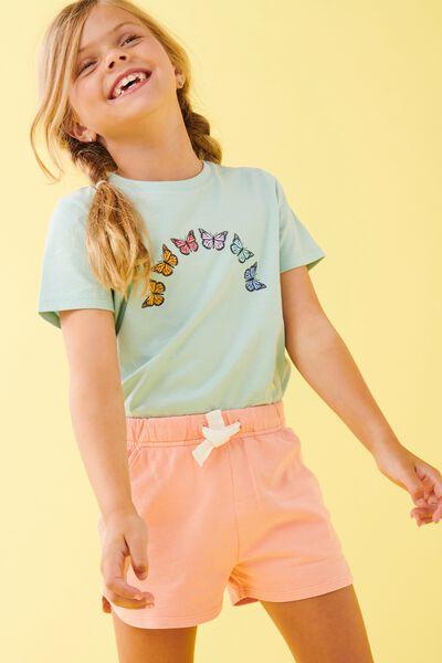Penelope Short Sleeve Tee, DUCK EGG/RAINBOW BUTTERFLY