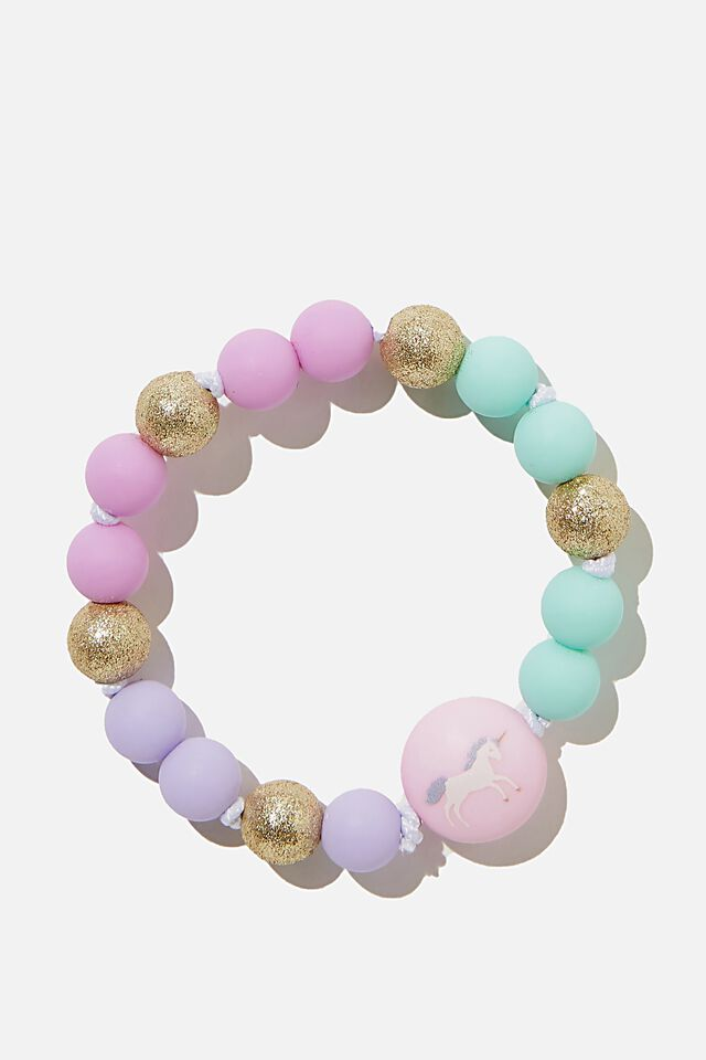 Mixed Beaded Bracelet With Charm, PASTEL UNICORN