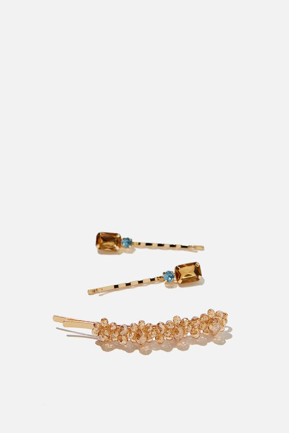Hair Clips, S AMBER MIXED SPARKLES