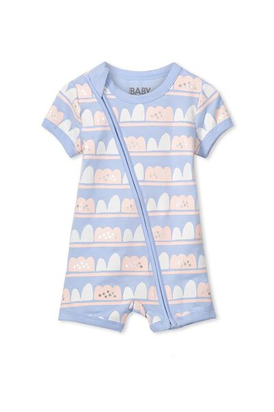 Mini Short Sleeve Zip Through All In One, EXCLUSIVE BLUE/BUMPS