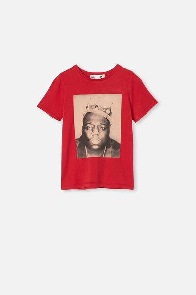 License Short Sleeve Tee, LCN MT LUCKY RED/ BIGGIE FACE