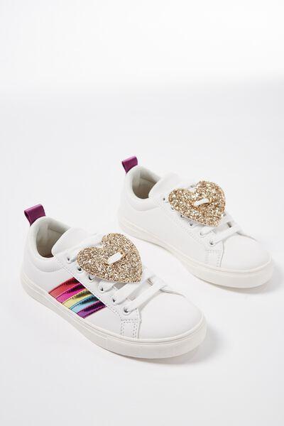 Rosie Rainbow Sneaker, WHITE