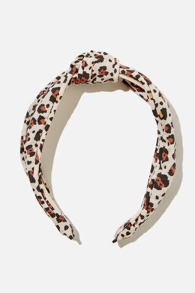 Knotted Headband, SNOW LEOPARD