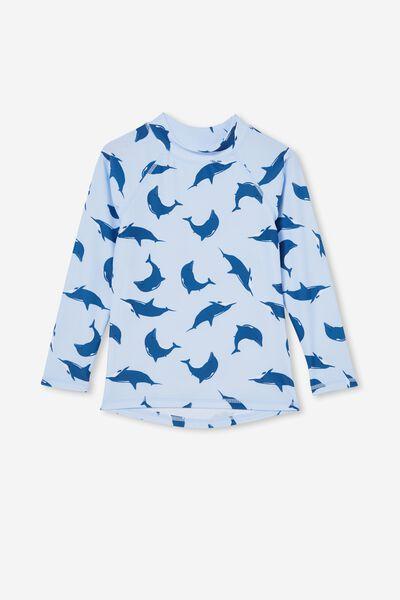 Flynn Long Sleeve Raglan Rash Vest, WHITE WATER BLUE/DOLPHIN