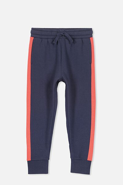 Lewis Trackpant, WASHED NAVY/RED PANEL