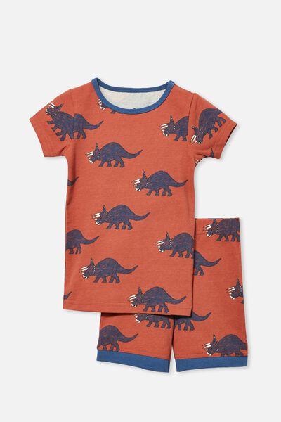 Ted Short Sleeve Pyjama Set, TEXTURED DINOSAUR/CHUTNEY