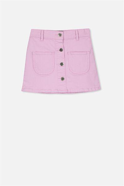 Flora Denim Skirt, LILAC SORBET