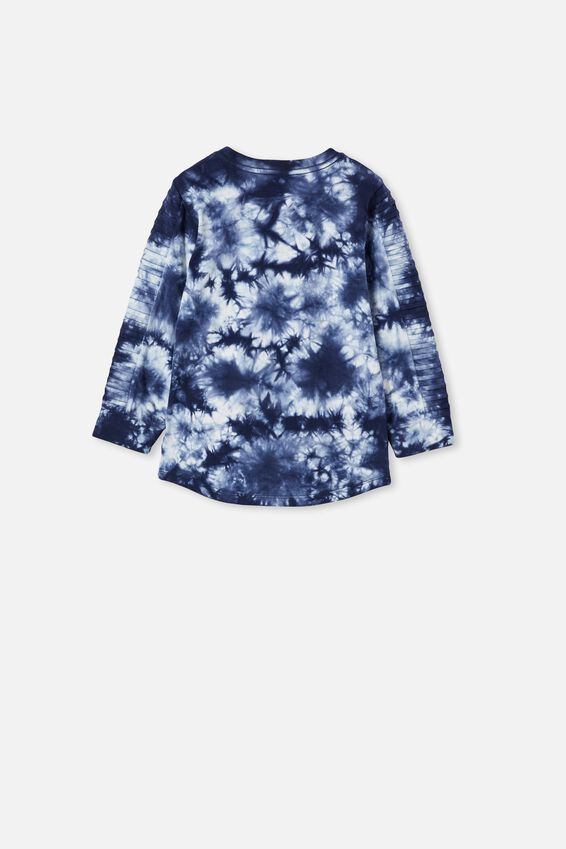 The Creed Long Sleeve Moto Tee, INDIGO / TIE DYE